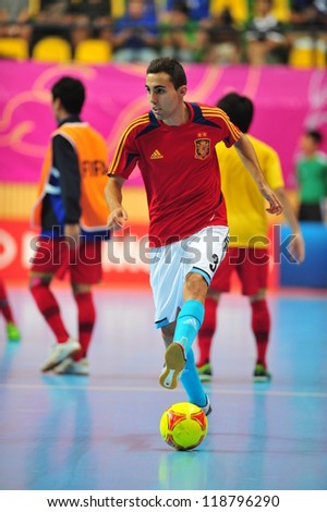 BANGKOK, THAILAND - NOVEMBER 11: Aicardo players of spain in FIFA Futsal World Cup, Round of 16 match between Thailand (R) and Spain (B) at Nimibutr Stadium on November 11, 2012 in Bangkok, Thailand.