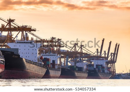 Bangkok,Thailand - November 26,2016 : Bangkok Port Authority of Thailand ,The port in Bangkok with loadfreight ship and cargo handling equipment on the side of Chao Phraya river in Bangkok,Thailand.