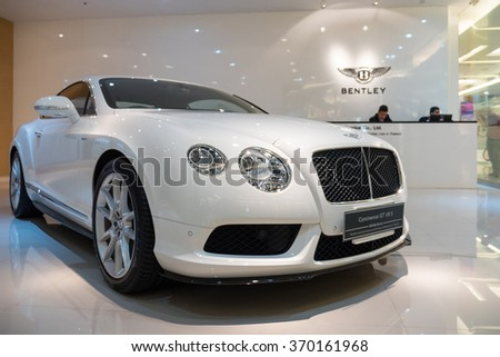 BANGKOK, THAILAND - NOVEMBER 19, 2015: Continental GT. Bentley Motors Limited is a British company that designs, develops, and manufactures Bentley luxury motorcars which are largely hand-built. - stock photo