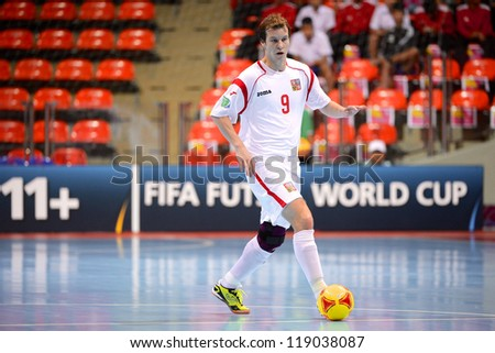 BANGKOK,THAILAND-NOVEMBER 06: David Fric of Czech Republic control the ball during the FIFA Futsal World Cup Egypt and Czech Republic at Indoor Stadium Huamark on Nov6,2012 in Bangkok,Thailand.