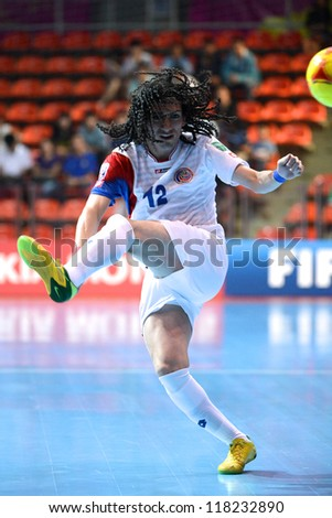 BANGKOK,THAILAND-NOVEMBER 04:Diego Zuniga of Costa Rica for the ball during the FIFA Futsal World Cup between Paraguay and Costa Rica at Indoor Stadium Huamark on Nov4, 2012 in Bangkok, Thailand.