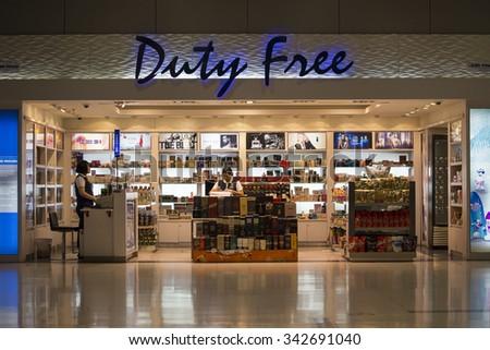 BANGKOK, THAILAND - NOVEMBER 14, 2014: Duty free shop at Suvarnabhumi International Airport - stock photo