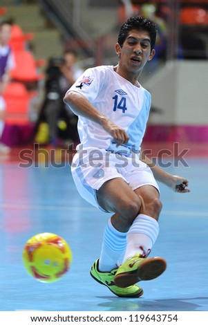 BANGKOK,THAILAND-NOVEMBER 09: Edgar Macal of Guatemala in action during  the FIFA Futsal World Cup between Solomon Islands and Guatemala at Indoor Stadium Huamark on Nov9,2012 in,Thailand.