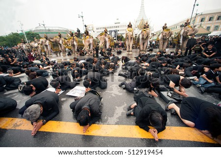 Bangkok,Thailand -November 8,2016 : Elephant 11 Rope and peoples ascribe unto lamented. His Majesty King Bhumibol Adulyadej at the front of the Royal Palace in Bangkok, Thailand.