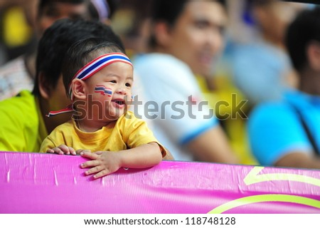 BANGKOK, THAILAND - NOVEMBER 11: Fan Club of Thailand in FIFA Futsal World Cup, Round of 16 match between Thailand (R) and Spain (B) at Nimibutr Stadium on November 11, 2012 in Bangkok, Thailand.