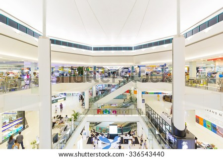 BANGKOK, THAILAND - NOVEMBER 06: Fashion Island on November 06, 2015 in Bangkok, Thailand. Fashion Island Shopping and Entertainment Centre is one of the largest shopping mall in Bangkok. - stock photo