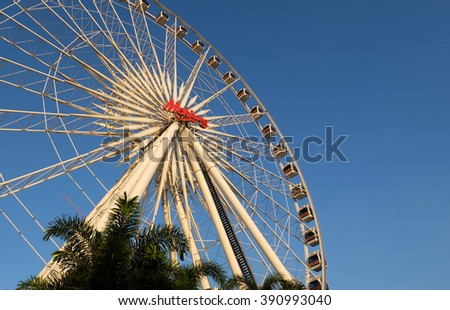BANGKOK THAILAND - November 27, 2015 : Ferris Wheel in ASIATIQUE The Riverfront at evening.
