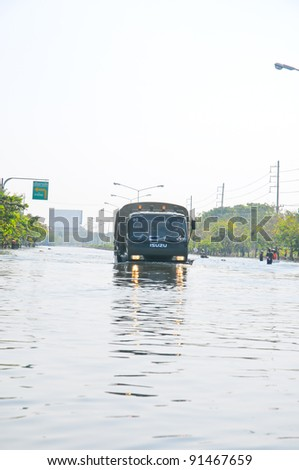 BANGKOK, THAILAND - NOVEMBER 25 : Flooding in Sai Mai Bangkok, Thailand after the heaviest rains in 20 years in Thailand on Nov 25, 2011 in Bangkok, Thailand