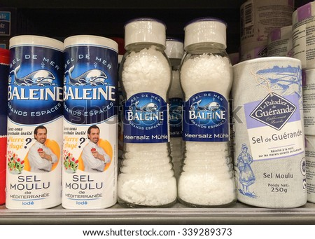 BANGKOK, Thailand - November 11, 2015: French Sea Salt Brand on shelf in supermarket.