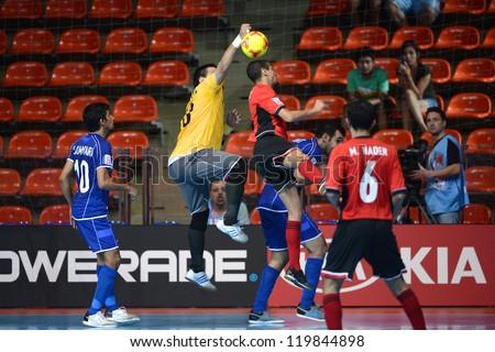 BANGKOK,THAILAND-NOVEMBER 09:Goalkeeper Hani Mhisen of  Kuwait in action during the FIFA Futsal World Cup between Kuwait and Egypt at Indoor Stadium Huamark on Nov9,2012 in Bangkok,Thailand. - stock photo