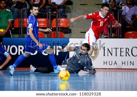 BANGKOK,THAILAND-NOVEMBER 3:Goalkeeper Hani Mhisen of Kuwait in action during the FIFA Futsal World Cup between Czech Republic and Kuwait at Indoor Stadium Huamark on Nov3, 2012 in Thailand. - stock photo