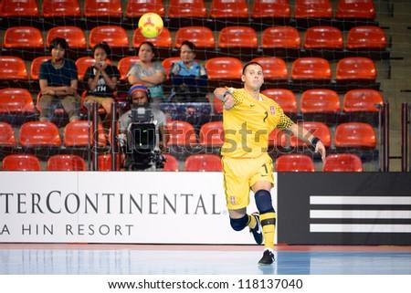 BANGKOK,THAILAND-NOVEMBER 03:Goalkeeper Miodrag Aksentijevic of Serbia in action during the FIFA Futsal World Cup between Egypt and Serbia at Indoor Stadium Huamarkin on Nov3,2012 in Bangkok,Thailand. - stock photo