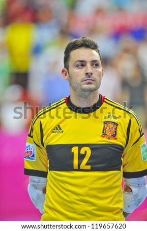 BANGKOK, THAILAND - NOVEMBER 14: Juanjo Players of Spain in the FIFA Futsal World Cup, Quarter-Final match between Spain and Russia at Nimibutr Stadium on November 14, 2012 in Bangkok, Thailand. - stock photo