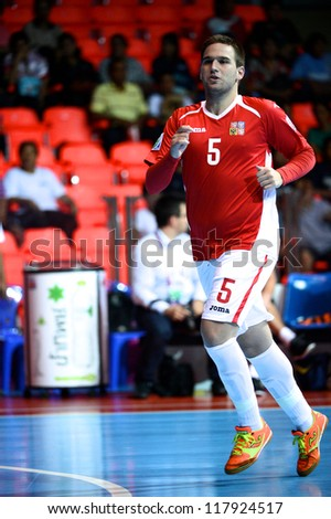 BANGKOK,THAILAND-NOVEMBER 3:Michal Kovacs of Czech Republic run during the FIFA Futsal World Cup between Czech Republic and Kuwait at Indoor Stadium Huamark on Nov3, 2012 in Thailand.