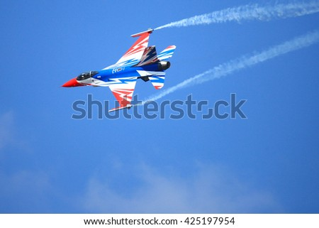 BANGKOK THAILAND-NOVEMBER 27; Military Aviation School, led a jet flying colors adorn show motivating a new generation dreamed committed to a pilot study on 27 November 2015 at airport in Korat.