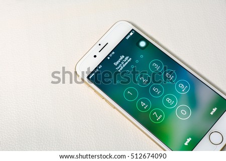 Bangkok, Thailand - November 11, 2016 : New Apple iPhone 7  unboxing in the first day of sales. New Apple iPhone acclaims to become the most popular smart phone in the world.