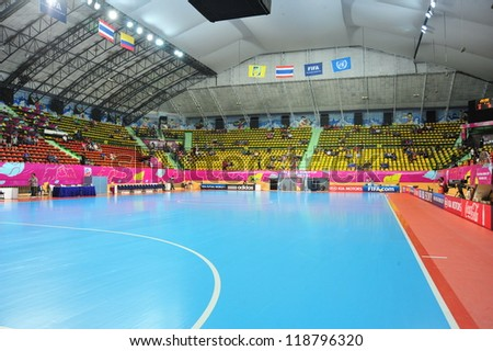 BANGKOK, THAILAND - NOVEMBER 11: Nimibutr Stadium, FIFA Futsal World Cup, Round of 16 match between Thailand (R) and Spain (B) at Nimibutr Stadium on November 11, 2012 in Bangkok, Thailand. - stock photo