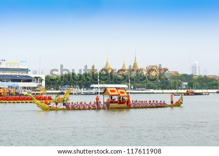 "BANGKOK,THAILAND-NOVEMBER 2: "" Pali Rang Thawip"" was set for the dress rehearsal of the Royal Barge Procession for the Royal Kathin Ceremony at Chaopraya river on November 2,2012 in Bangkok,Thailand"