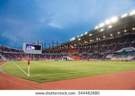 BANGKOK,THAILAND NOVEMBER 12:Panoramic view fan of  Rajamangala Stadium during the 2018 FIFA World Cup Qualifier between Thailand and Chinese Taipei at Rajamangala Stadium on Nov 12, 2015 in Thailand. - stock photo