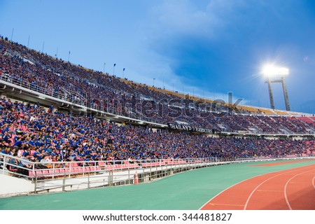 BANGKOK,THAILAND NOVEMBER 12:Panoramic view fan of Thailand supporters during the 2018 FIFA World Cup Qualifier between Thailand and Chinese Taipei  at Rajamangala Stadium on Nov 12, 2015 in Thailand.