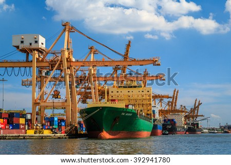 Bangkok, Thailand - November 22, 2015: PAT-Port Authority of Thailand is a coastal port or Transhipment port, 1 of 6 of the biggest ports in Thailand.