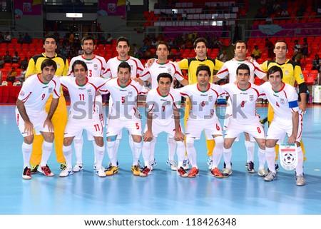 BANGKOK,THAILAND-NOVEMBER 05:Players of Iran pose shot photo during the FIFA Futsal World Cup between Morocco and Iran at Indoor Stadium Huamark on Nov5, 2012 in Bangkok,Thailand. - stock photo