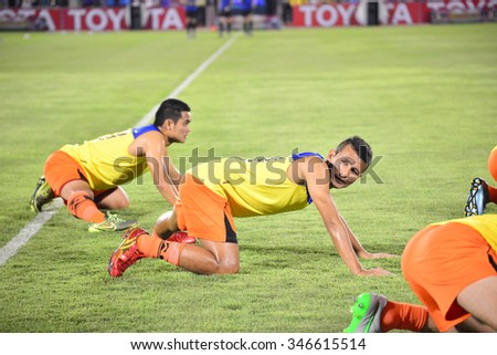 BANGKOK THAILAND-November 21: Players of Sisaket FC in action during a training ahead Toyota League cup between Sisaket FC and Buriram UTD. , at Supachalasai Stadium on November 21,2015:Thailand.