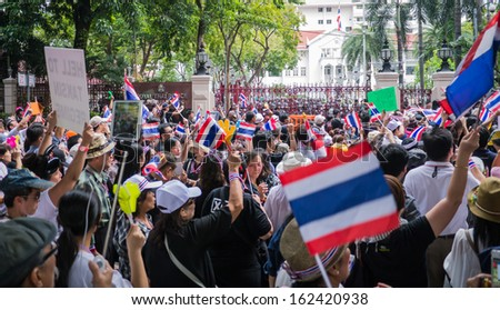 BANGKOK, THAILAND - NOVEMBER 11, 2013: Protesters standing in front of the police headquarter to fight against amnesty bill.