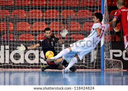 BANGKOK,THAILAND-NOVEMBER 05:Rabie Zaari (GK) of Morocco in action during the FIFA Futsal World Cup between Morocco and Iran at Indoor Stadium Huamark on Nov5, 2012 in Bangkok,Thailand. - stock photo
