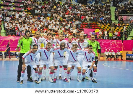 BANGKOK, THAILAND - NOVEMBER 14: Russia Team in the FIFA Futsal World Cup, Quarter-Final match between Spain and Russia at Nimibutr Stadium on November 14, 2012 in Bangkok, Thailand. - stock photo