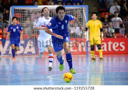 BANGKOK,THAILAND-NOVEMBER 07: Suphawut Thueanklang of Thailand runs with the ball during the FIFA Futsal World Cup between Paraguay and Thailand at Indoor Stadium Huamark on Nov7, 2012 in,Thailand.