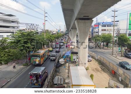 Bangkok, Thailand -November 11 2014 : Thailand Bangkok Street Scene with Heavy Traffic Congestion on Petchkasem road. August 5, 2014, in Bangkok Thaialnd - stock photo