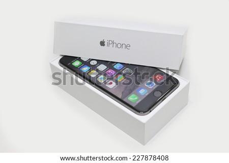 BANGKOK, THAILAND -NOVEMBER 3, 2014: the new apple iphone6 plus on 3 November 2014 in Bangkok Thailand. - stock photo