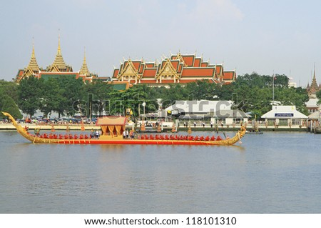 BANGKOK,THAILAND-NOVEMBER,6:The Royal Barge Procession Rehearsal along Bangkok's Chao Phraya River to present the Royal Kathin ceremony at Wat Arun Ratchavararam,November 6,2012 in Bangkok,Thailand.