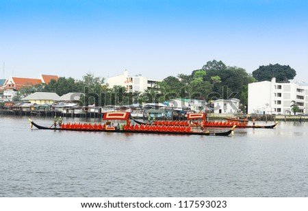 "BANGKOK,THAILAND-NOVEMBER 2: ""Thong Kwan Fa"" was set for the dress rehearsal of the Royal Barge Procession for the Royal Kathin Ceremony at Chaopraya river on November 2,2012 in Bangkok,Thailand"