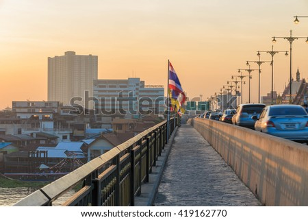 BANGKOK, THAILAND - NOVEMBER 30, 2015 : Traffic jam on the bridge in Bangkok in the morning. Bangkok is the capital and the most populous city of Thailand.