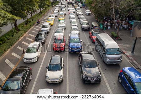 BANGKOK, THAILAND NOVEMBER 22,2014: Traffic on a busy road on November 22, 2014 in Bangkok, Thailand. Bangkok is the most crowded city in Thailand. - stock photo