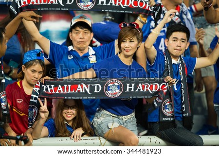 BANGKOK,THAILAND NOVEMBER 12:Unidentified fan of Thailand supporters during the 2018 FIFA World Cup Qualifier between Thailand and Chinese Taipei  at Rajamangala Stadium on Nov 12, 2015 in Thailand.