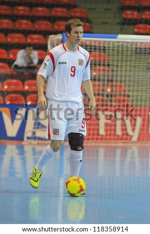 BANGKOK, THAILAND - NOVEMBER 06: Unidentified players in FIFA Futsal World Cup Group E match between Egypt and Czech Republic at Indoor Stadium Huamark on November 6, 2012 in Bangkok, Thailand.