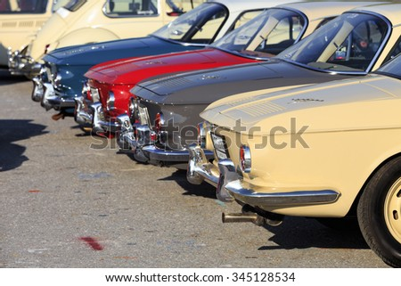 BANGKOK, THAILAND - November 29 : Volkswagen retro vintage car display in Siam VW festival 2015 on November 29, 2015 in Bangkok Thailand.