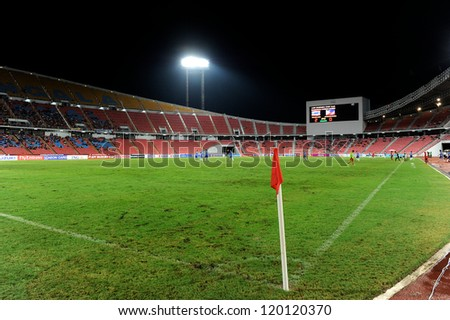 BANGKOK THAILAND-NOVENBER 24:A general view of the stadium during the AFF Suzuki Cup between Thailand and Philippines at Rajamangala stadium on Nov24, 2012 in,Thailand.