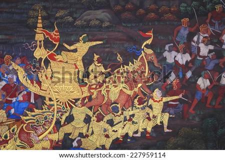 BANGKOK ,THAILAND - OCT 4 : Ancient Thai mural painting with tempera colors and gilding painting of Ramayana story in Wat Phra Sri Rattana Satsadaram on October- 4, 2014 in Bangkok, Thailand. - stock photo