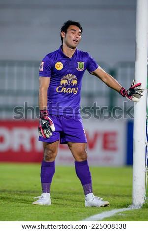 BANGKOK THAILAND-Oct15:Goalkeeper Sarawut Konglarp of Army Utd F.C.reacts during the Thai Premier League Between Army Utd F.C.and Chonburi F.C.at Royal Thai Army Stadium on October15,2014 in Thailand - stock photo