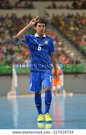 BANGKOK THAILAND-OCT11:Jirawat Sornwichian of Thailand in action during 2015 AFF Futsal Championship Match between Thailand and Brunei at Bangkok Arena Stadium on October11,2015 in Thailand