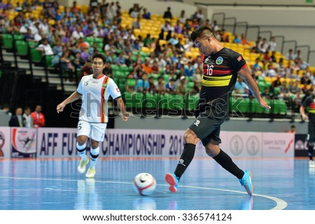 BANGKOK THAILAND-OCT9:Jose Lopes of Timor Leste in action during 2015 AFF Futsal Championship Match between Timor Leste and Brunei Darussalam at Bangkok Arena Stadium on October9,2015 in Thailand