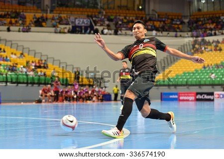 BANGKOK THAILAND-OCT9:Manuel Varela of Timor Leste in action during 2015 AFF Futsal Championship Match between Timor Leste and Brunei Darussalam at Bangkok Arena Stadium on October9,2015 in Thailand