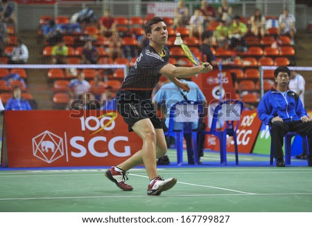 BANGKOK,THAILAND-OCT30,2013:Michael Jennings badminton player of South Africa during SCG BWF World Junior Champions 2013 at Indoor Stadium Huamark on Oct30,2013 in Bangkok,Thailand.