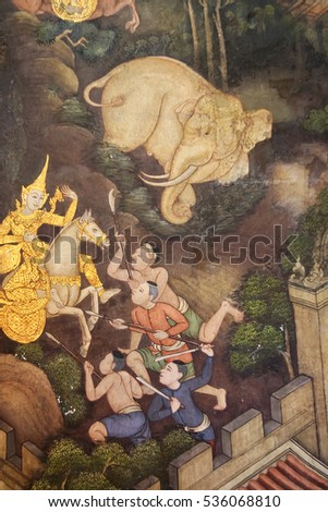Bangkok, Thailand - Oct 11, 2008 : mural depicting a scene in typical thai style from the Ramayana In Wat Phra Chetuphon (Wat Po). Temple in Bangkok, Thailand.