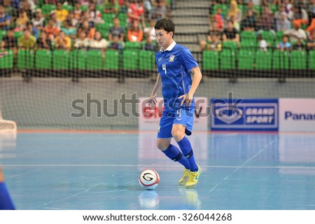 BANGKOK THAILAND-OCT9:Piyapan Rattana of Thailand in action during 2015 AFF Futsal Championship Match between Thailand and Singapore at Bangkok Arena Stadium on October9,2015in Thailand