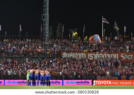 BANGKOK THAILAND- OCT 12 :Players of Thai Port Fc in action during Thai Premier League between Thai Port Fc and Chonburi F.C. at PAT Stadium on October 12,2015 in Bangkok Thailand - stock photo